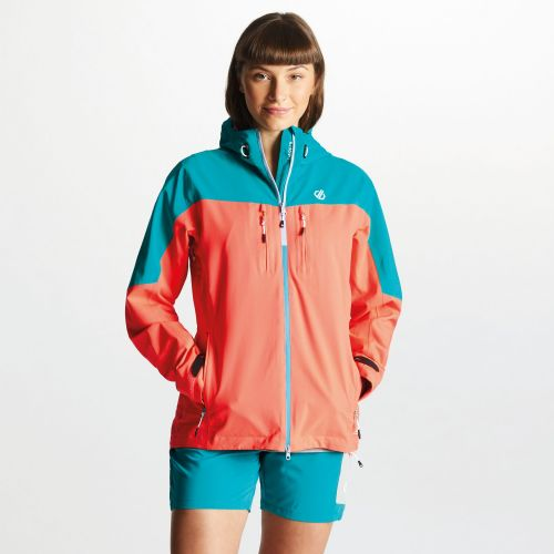 Women's Surfiest AEP Seamsmart Lightweight Hooded Waterproof Jacket Fiery Coral Caribbean Green